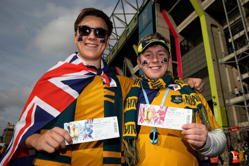 LONDON, ENGLAND - OCTOBER 18: Australia fans pose with their match tickets prior to the 2015 Rugby World Cup Quarter Final match between Australia and Scotland at Twickenham Stadium on October 18, 2015 in London, United Kingdom.  (Photo by Steve Bardens - World Rugby/World Rugby via Getty Images)