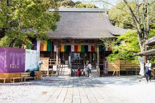 Kochi, Japan - April 6, 2018: Main hall of Chikurinji, temple number 31 of Shikoku pilgrimage