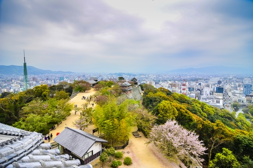 Landscape of Matsuyama city from Matsuyama castle - Japan